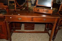 HARDWOOD SIDE TABLE WITH TWO DRAWERS BENEATH, LENGTH APPROX 122CM