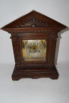 WOODEN MANTEL CLOCK WITH SILVERED DIAL