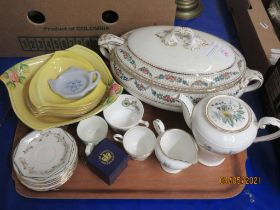 TRAY CONTAINING CHINA INCLUDING AN AYNSLEY PART COFFEE SET