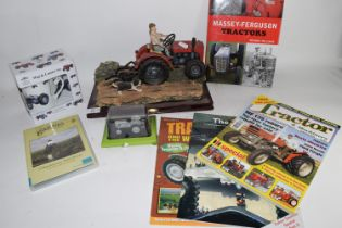 MODEL OF A TRACTOR FROM THE JULIANA COLLECTION, AND A MUG WITH PRINT OF TRACTOR AND SMALL MODEL OF A