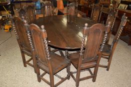 LARGE AND IMPRESSIVE OVAL GATELEG TABLE, RAISED ON BARLEY TWIST SUPPORTS, TOGETHER WITH A SET OF TEN