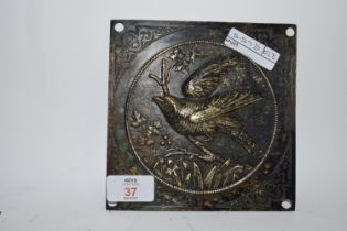 SQUARE BRASS PLATE DECORATED WITH BIRDS IN RELIEF