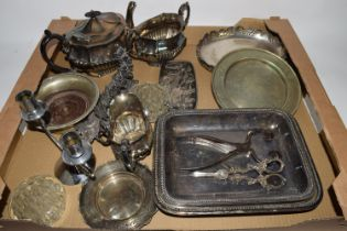 TRAY CONTAINING PLATED WARES INCLUDING PLATED TEA POT AND SUGAR BOWL AND CREAMER, WINE COASTER ETC