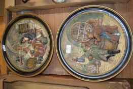PAIR OF CONTINENTAL POTTERY PLAQUES MODELLED IN RELIEF OF TAVERN SCENES