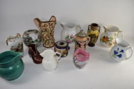 CERAMIC JUGS, VASES, INCLUDING A COALPORT MODEL OF A MASTHEAD JUG AND A ORIENTAL JAR WITH FAMILLE
