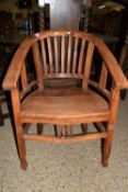 GOOD QUALITY HARDWOOD ELBOW CHAIR, WIDTH APPROX 63CM MAX