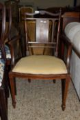 DECORATIVE EDWARDIAN UPHOLSTERED BEDROOM CHAIR WITH INLAID DECORATION DEPICTING AN URN AND