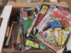 BOX CONTAINING AMERICAN STYLE COMICS, MAINLY BY MARVEL