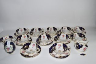 PART ENGLISH PORCELAIN TEA SET BY ROYAL WORCESTER, PLUS A BOOTH'S WORCESTER STYLE JUG (A/F)