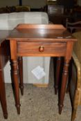 SMALL 19TH CENTURY SIDE TABLE WITH DRAWER BENEATH RAISED ON TURNED LEGS, WIDTH APPROX 51CM