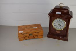 WOODEN JEWELLERY BOX AND A MANTEL CLOCK