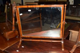EDWARDIAN SWING MIRROR WITH CROSS BANDED DECORATION, WIDTH APPROX 53CM