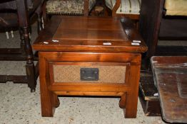 SMALL ORIENTAL STYLE HARDWOOD SQUARE TABLE WITH DRAWER BENEATH