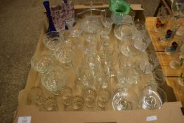 TRAY CONTAINING GLASS WARES, WINE GLASSES, SPIRIT GLASSES ETC