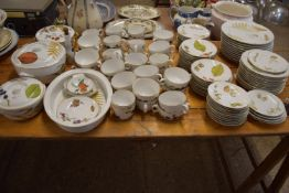 EXTENSIVE QUANTITY OF DINING WARES BY ROYAL WORCESTER IN THE WILD HARVEST PATTERN COMPRISING CUPS,