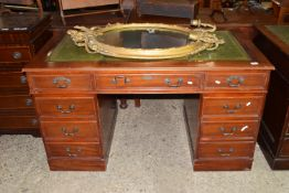 REPRODUCTION STAINED WOOD LEATHER TOPPED TWIN PEDESTAL DESK, APPROX 137 X 76CM