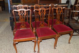 SET OF SIX MAHOGANY UPHOLSTERED DINING CHAIRS