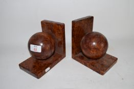 PAIR OF MID-20TH CENTURY BOOKENDS WITH BURR WALNUT TYPE FINISH