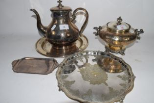 SMALL PLATED TUREEN AND COVER ON A PLATED STAND WITH INSCRIPTION, PLUS A FURTHER PLATED COFFEE POT