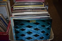 BOX CONTAINING LPS - TOMMY BY THE WHO, TUBULAR BELLS, JOHNNY CASH, LEONARD COHEN ETC