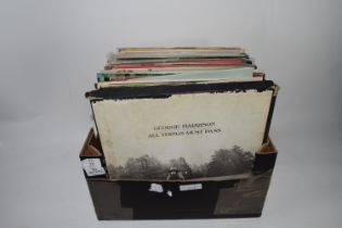 BOX CONTAINING LPS, MAINLY POP MUSIC, ABBA, GLEN CAMPBELL, GEORGE HARRISON ETC