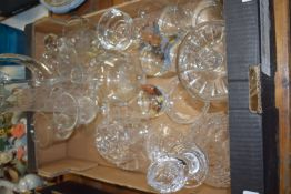 TRAY CONTAINING GLASS WARES, DECANTER, WATER JUG ETC