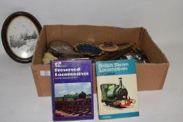BOX CONTAINING CERAMICS ETC, SMALL MINTONS DISH, BOOKS ON STEAM LOCOS