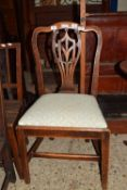 EARLY 20TH CENTURY OAK DINING CHAIR WITH CARVED FLORAL AND GEOMETRIC DESIGN TO SPLAT