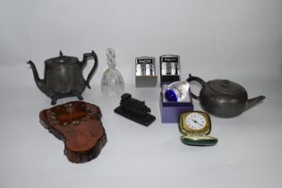 BOX CONTAINING METAL WARES ETC, TWO PEWTER TEA POT, GLASS DECANTER AND COVER ETC