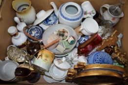 BOX CONTAINING MISCELLANEOUS CERAMICS INCLUDING JAPANESE EGGSHELL BOWL, ORIENTAL TEA POT ETC