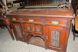 COLONIAL STYLE SIDEBOARD WITH HEAVILY CARVED DECORATION THROUGHOUT, APPROX LENGTH 152CM