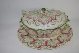 LARGE TUREEN AND COVER AND BASE WITH SERVING SPOON
