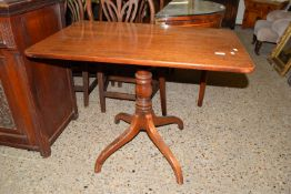 19TH CENTURY SIDE TABLE RAISED ON A CENTRAL TURNED COLUMN OVER QUADRUPED SUPPORTS, APPROX 92 X 58CM
