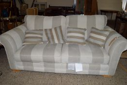 MODERN STRIPED PATTERN THREE-SEAT SOFA WITH MATCHING SCATTER CUSHIONS