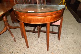 DEMI-LUNE FOLD-TOP TEA TABLE WITH STRUNG DECORATION THROUGHOUT, WIDTH APPROX 89CM