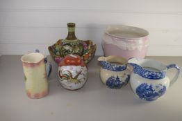 CERAMIC ITEMS, BLUE AND WHITE JUGS, DENBY GLYN COLLEGE TYPE VASE ETC