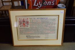 FRAMED SCROLL SETTING FORTH THE GRANT TO THE GUILD OF MARKETORS TO BECOME A LIVERY COMPANY OF THE