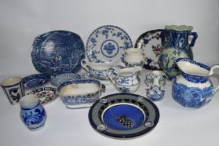 BOX CONTAINING BLUE AND WHITE CERAMICS, VASES, GRAVY BOAT AND STAND ETC