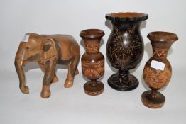 WOODEN MODEL OF AN ELEPHANT, PLUS A PAIR OF WOODEN VASES