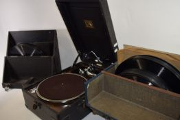 VINTAGE BOXED GRAMOPHONE PLAYER AND A SET OF BOXED RECORDS AND FURTHER PLAYER