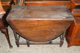 OVAL GATE LEG TABLE WITH BARLEY TWIST LEGS, SIZE APPROX 152 X 105CM EXTENDED