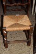 SMALL JOINTED RUSH SEATED STOOL, APPROX 30CM SQUARE