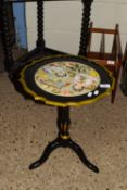 SMALL WINE TABLE WITH LATER PAINTED AND DECOUPAGE DECORATION, APPROX 37CM DIAM
