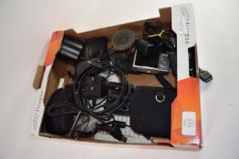BOX CONTAINING ELECTRICAL EQUIPMENT, CAMERAS, PLUGS ETC
