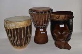 SET OF THREE AFRICAN STYLE DRUMS