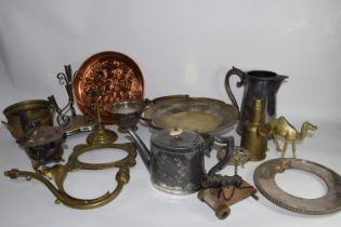 BOX CONTAINING BRASS AND COPPER WARES, CANDLESTICKS, TEA POTS ETC