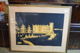 FRAMED COLLAGE PICTURE OF LEEDS CASTLE, INITIALLED S.E. APPROX 42 X 60CM