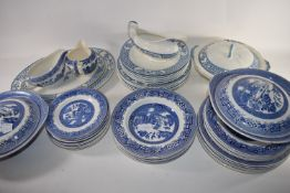 DINNER WARES, BLUE AND WHITE WILLOW PATTERN DESIGN