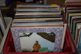 BOX CONTAINING LPS - TOM JONES, BARRY MANILOW, JOHNNY MATHIS ETC