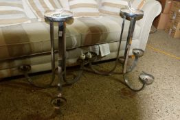 PAIR OF LATE 20TH CENTURY CHROME FINISH THREE-BRANCH ELECTROLIERS, EACH HEIGHT APPROX 70CM
